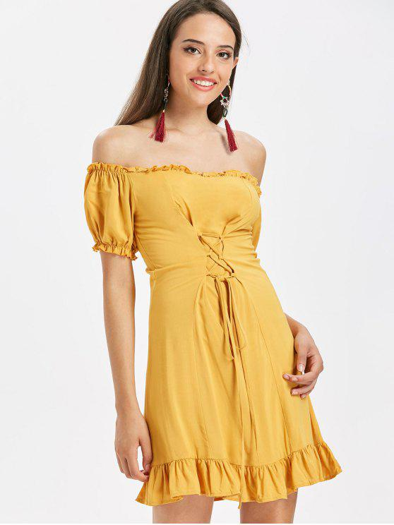 affordable Off The Shoulder Lace Up Dress - BEE YELLOW L