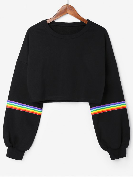 affordable Rainbow Stripes Crop Sweatshirt - BLACK M