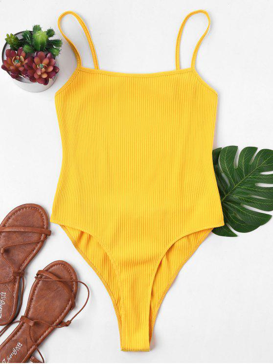 latest Backless High Cut Bodysuit - YELLOW L