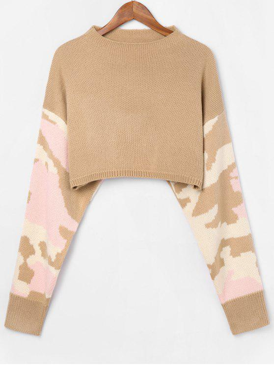 buy Boat Neck Camouflage Sweater - TAN S
