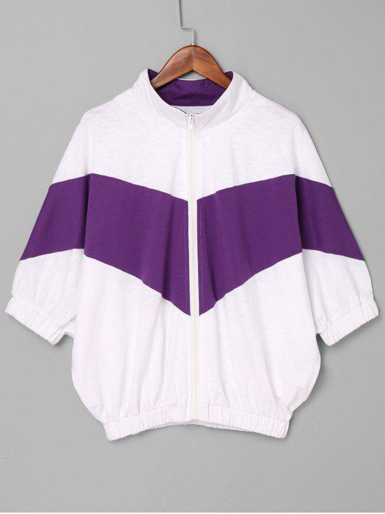 Contraste Zip Up Jacket - Roxo M
