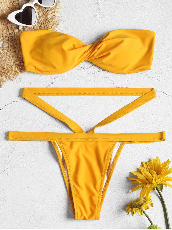 online Side Boning Twist Bandeau Bikini Set - BRIGHT YELLOW M