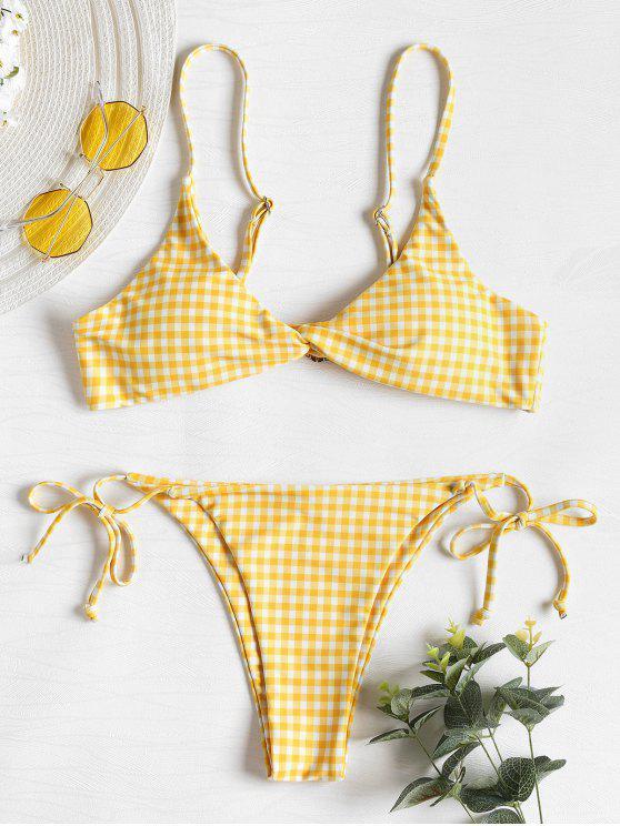 Bikini Stringato A Quadretti Con Torsione Frontale - Giallo Granturco L