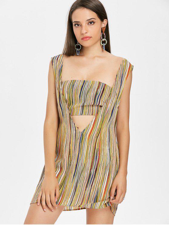 Streifen Bandeau Top Ärmelloses Kleid - Multi L