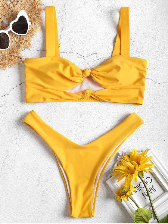 shop Knot Cut Out High Cut Bikini Set - YELLOW S