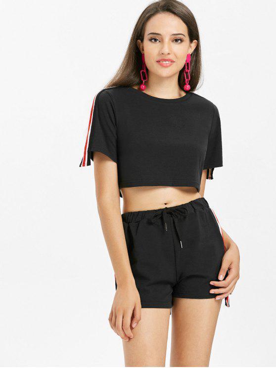 Conjunto de pantalón corto rayado rayas - Negro L