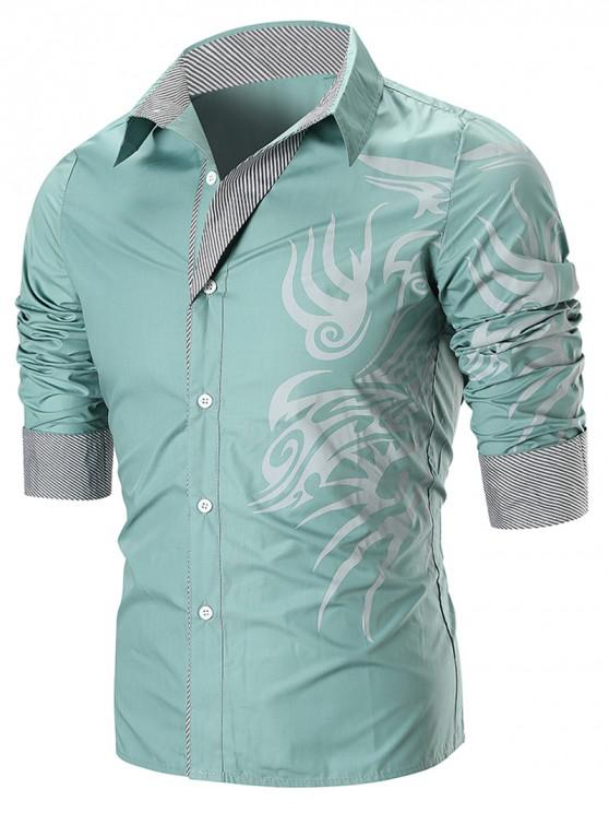 best Dragon Print Stripe Panel T-shirt - GREEN 3XL