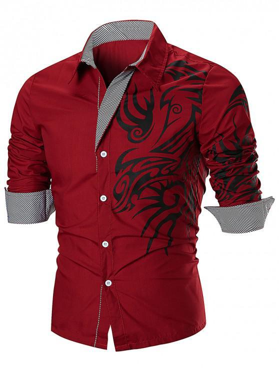 sale Dragon Print Stripe Panel T-shirt - RED 3XL