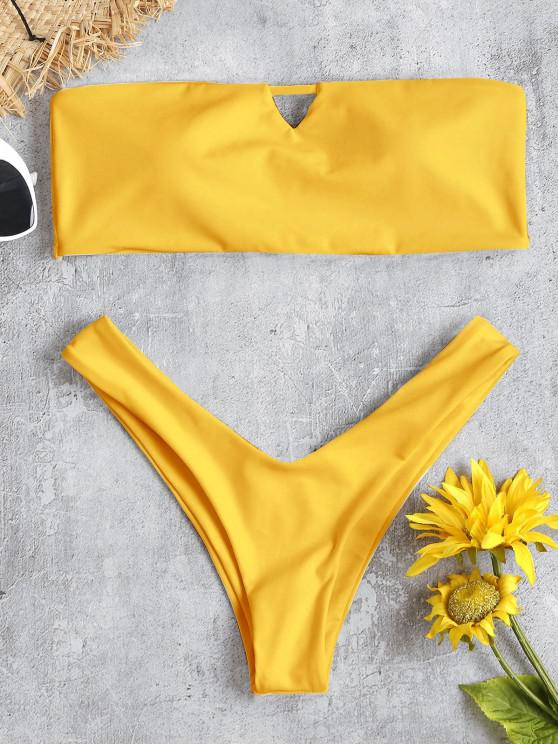 fashion V-Cut Bandeau Thong Bikini Set - RUBBER DUCKY YELLOW M