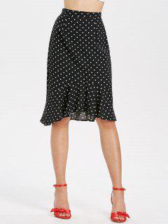 Ruffle Hem Polka Dot Midi Skirt - Black M