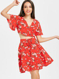 Floral Ruched Top Skater Skirt Two Piece Set - Fire Engine Red L