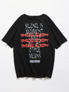 Back Letter Printed T-shirt - Black M