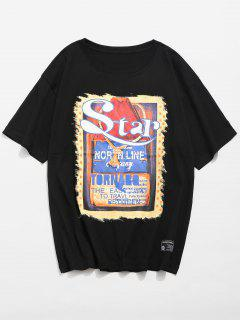 Graphic Poster Printed Patch T-shirt - Black M