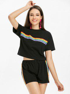 Striped Patched Shorts Set - Black S