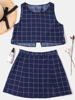 Checked Sleeveless Skirt Set - Midnight Blue L