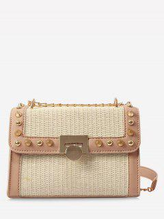 Flapped Straw Flap Chic Studs Crossbody Bag - Light Khaki