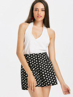 Ribbed Halter Tank Top - White L