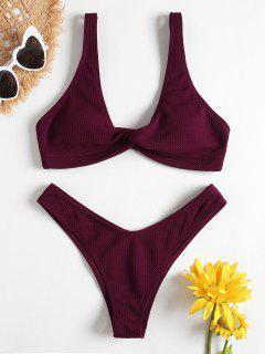Low Rise Textured Twist Bikini Set - Red Wine L