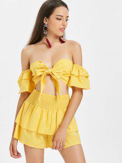 Off Shoulder Tie Front Top And Shorts Set - Bright Yellow L