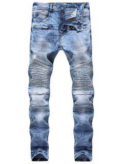 Hook Button Zipper Biker Jeans - Denim Dark Blue 32