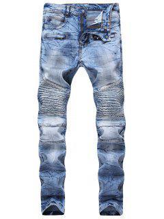 Hook Button Zipper Biker Jeans - Denim Dark Blue 38