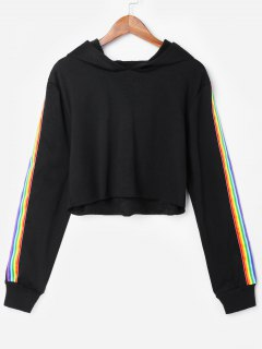Rainbow Stripes Patched Hoodie - Black M