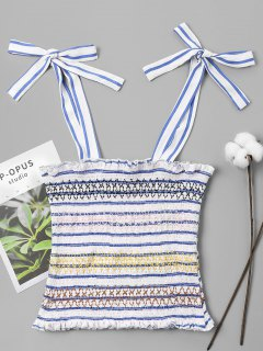Striped Smocked Tied Tank Top - Sky Blue L