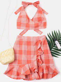 Ruffles Plaid Skirt Set - Tangerine M