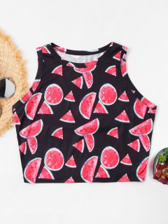 Watermelon Cutaway Crop Tank Top - Black L