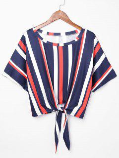Knot Front Striped Crop T-shirt - Multi L