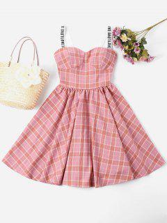 Robe Encolure En Cœur à Carreaux - Rose Léger  L