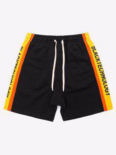 Side Patch Letter Striped Shorts - Black M