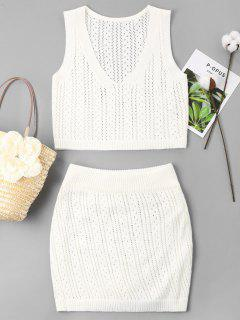 Eyelet Knitted Skirt Set - White Xl