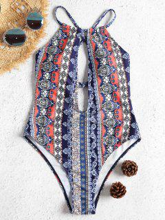 Cross Back Keyhole High Cut Swimsuit - Multi S
