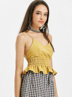 Smocked Frilled Cami Tank Top - Goldenrod M