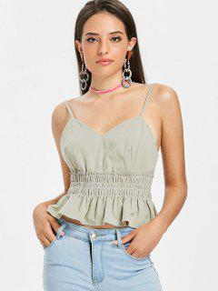 Smocked Frilled Cami Tank Top - Sage Green L