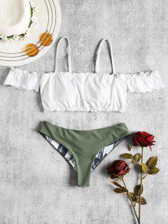 Rüschen Trim Kalte Schulter Bikini - Weiß M