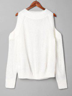 Pullover Open Shoulder Sweater - White
