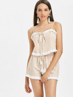 Striped Tassels Shorts Set - Blanched Almond M