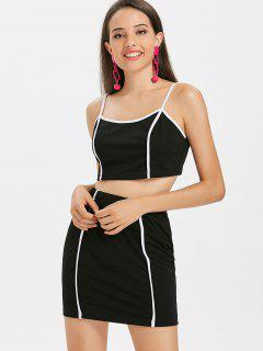 Piping Cami Skirt Set - Black S