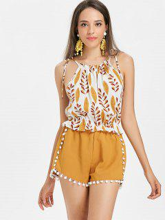 Leaves Print Cami Top - White L