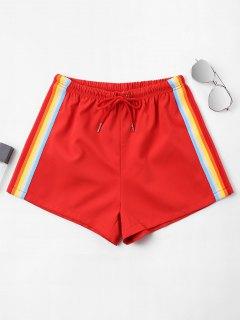 High Waist Stripes Shorts - Fire Engine Red L