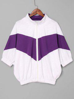 Contrast Zip Up Jacket - Purple M