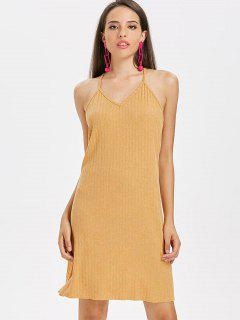 Slit Knit Cami Casual Dress - Bee Yellow M