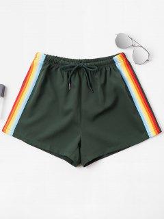 High Waist Stripes Shorts - Medium Sea Green Xl