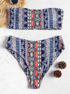 Strapless Printed High Waisted Bikini Set - Multi L