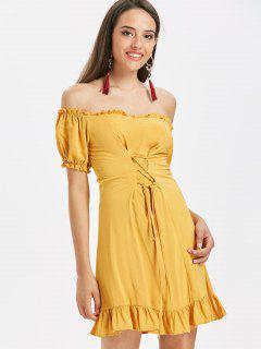 Off The Shoulder Lace Up Dress - Bee Yellow L