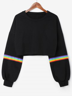 Rainbow Stripes Crop Sweatshirt - Black S