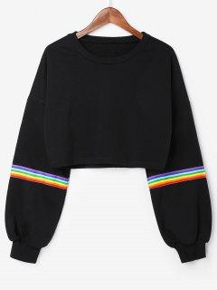 Rainbow Stripes Crop Sweatshirt - Black L