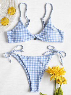 Twist Front Gingham String Bikini Set - Day Sky Blue M